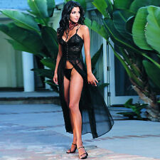 Adult Woman Lace Sheer Long Gown Nighty Lingerie Sleepwear Robes Evening Dress