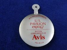 1967 WORLD EXPO MONTREAL USA PAVILION AVIS PLYMOUTH CARS BUTTON PIN COLLECTOR