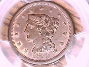 1855 Braided Hair Large Cent Penny PCGS MS 64 BN Upright 55 32539065
