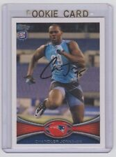 CHANDLER JONES Patriots SIGNED 2012 Topps Football #76 Autograph ON CARD AUTO RC