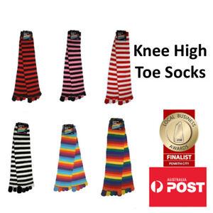Knee High Colourful Striped Toe Socks