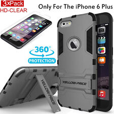 iPhone 6+ 6s Plus Case, [+Screen Protector] [Kick-Stand] Shockproof Armor Cover
