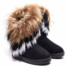 Casual Womens Winter Warm High Ankle Snow Boots Faux Rabbit Fur Suede Shoes Size