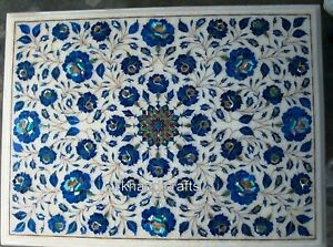 Lapis Lazuli Stones Inlaid Corner Table Marble Coffee Table Top 12 x 18 Inches