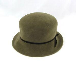 Eric Javits New York Olive Green Wool Hat Brown Velvet Trim