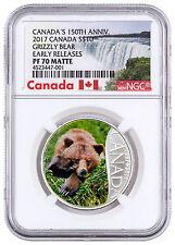 2017 Canada 1/2 oz. Silver 150th - Grizzly Bear $10 Matte NGC PF70 ER SKU45480