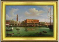 Framed Canaletto Ducal Palace Repro, Quality Hand Painted Oil Painting, 24x36in