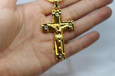 NUOVO Uomo Hip Hop Placcato Oro Pendente Croce Gesù Collana Catena Serpente 70 cm