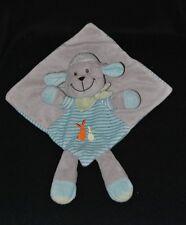 Peluche doudou mouton plat NICOTOY gris bleu lapins brodés foulard vert TTBE