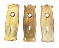 "Antique Nouveau Style Brass Plated Door Plate SINGLE Ornate w. Keyhole 7x 2-3/8"""