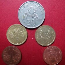 *Mixed LOT of  5  SINGAPORE COINS, Circulated  20, 5 and 1 CENTS, Coin Lot #05