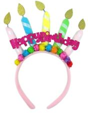 Happy Birthday Banner Headband with Candles Party Accessory