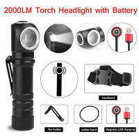 XHP50 LED 3 Modes Magnetic USB Rechargeable Headlamp Flashlight Torch w/ Battery