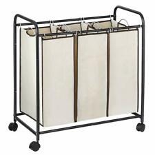 Laundry Basket with Wheels Rolling Cart Heavy Duty Triple Laundry Organizer