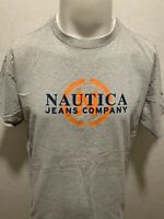 Vintage Nautica Jeans Company Spell Out Mens Gray Orange S/S T Shirt Large L