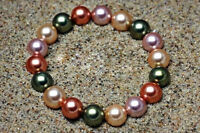 "10mm Multicolor Sea Shell Pearl Round  Bracelet 7.5""AAA+"