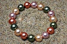 "10mm Multicolor Sea Shell Pearl Round  Bracelet 7.5""AAA+"