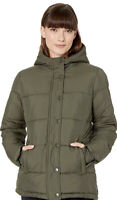 Essentials Women's Heavy-Weight Hooded Full zip Puffer Coat, Olive, Size Small