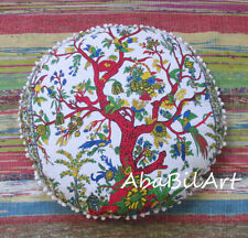 """New 28"""" Tree Of Life Pillow Cover Round Pouf Covers Hippie Room Decorative Throw"""