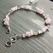 "Fluorite Tears & Rose Quartz Chip Bead Bracelet 8.5"" to 9.5"" Pagan Chakra Reiki"