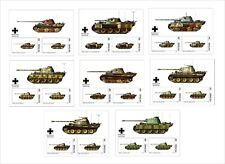 2018 TANKS PANTHER TANK WWII 16 SOUVENIR SHEETS UNPERFORATED WAR MILITARY