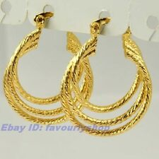 "1"" 4g THREE TWIST RINGS REAL 18K YELLOW GOLD PLATED HOOP EARRINGS SOLID FILL GEP"