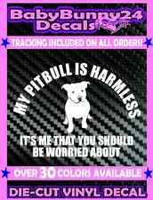 My PITBULL Is Harmless It's Me Truck Laptop Rescue Dog Car Decal Vinyl Sticker