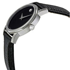 Movado 2100004 Museum Black Dial Black Leather Strap Ladies Watch MSRP $495