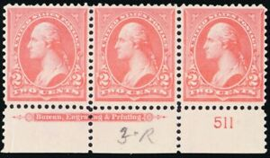 267a, Mint VF NH PINK SHADE PL# & Imprint Strip of 3 GEM! - Stuart Katz