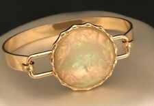 Designer Statement Bracelet Gold Iridescent Faceted Stone Premier Urban Chic 6W