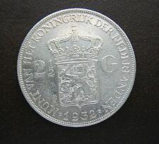 Munt Nederland/Netherlands: 2 1/2 (2,5) Gulden 1932 grof haar (Zilver)