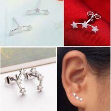 Vintage Simple Three Star Earrings Wedding Jewelry Tiny Ear Stud Silver Plated