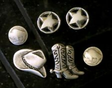 New listing 6 Western Cowboy Buttons,Cowboy Hat,Buffalo Nickel,Star, Silver Buttons Italy