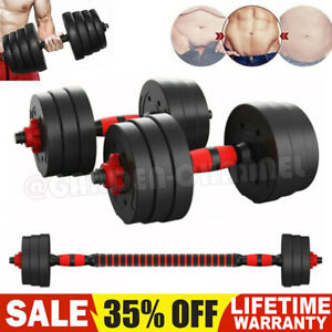30kg FITNESS DUMBELLS PAIR OF WEIGHTS BARBELL/DUMBBELL BODY BUILDING SET GYM UK