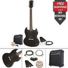 Gibson Electric Guitar Kit W/ Amp Cords Strap Picks Strings Double Cutaway Set