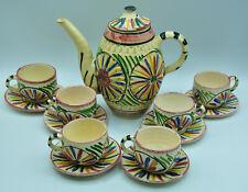 Service à café cafetière 6 tasses terre cuite art brute design ethnique
