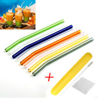 Reusable Rainbow Stainless Steel Glass Drinking Straw Straws & Cleaning Brush