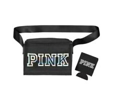 NWT Victorias Secret Pink Black Cooler-Lunch Box Bag with Koozie