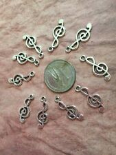 Music Note Charms Bulk Jewelry Making Antique Silver Tone  50 pcs 20x17mm