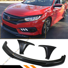 FOR 16-18 10TH HONDA CIVIC GT STYLE FRONT BUMPER SPLITTER LIP + 2 PC SIDE CAPS