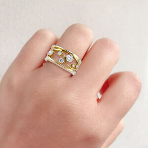 Gorgeous Gold Plated Crystal Rings Set Wedding Engagement Rings Jewelry Sz 6-10