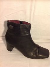 Barratts Black Ankle Leather Boots Size 6