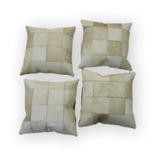 Cowhide Pillows Patchwork Beige White Cushion Cover Cow Hide Rug Hair on Leather