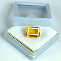 Loose Gemstone 7-9 Ct Madeira Yellow Citrine 100% Natural Emerald Cut Certified