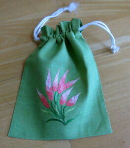 NEW Pretty Small Hand Embroidered Drawstring Bag - Green
