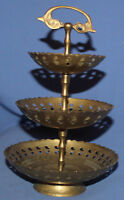 VINTAGE BRASS 3 TIERED SERVING TRAY