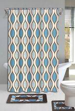 Glenn Brown & Blue 15-Piece Bathroom Accessory Set 2 Bath Mats Shower Curtain