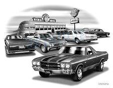 """EL CAMINO 67,70,79,81 MUSCLE CAR ART PRINT #1802 """"FREE USA SHIPPING"""""""