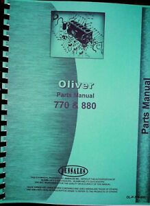 Oliver 770 880 Tractor Parts Manual Catalog Row Crop Standard Industrial