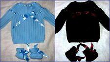 TRICOT 2 brassieres bébé naissance fait main bleu chocolat & chaussons luxe chic